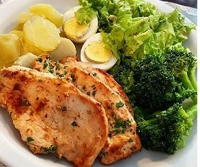 Receita fitness - Frango, ovo e batata doce